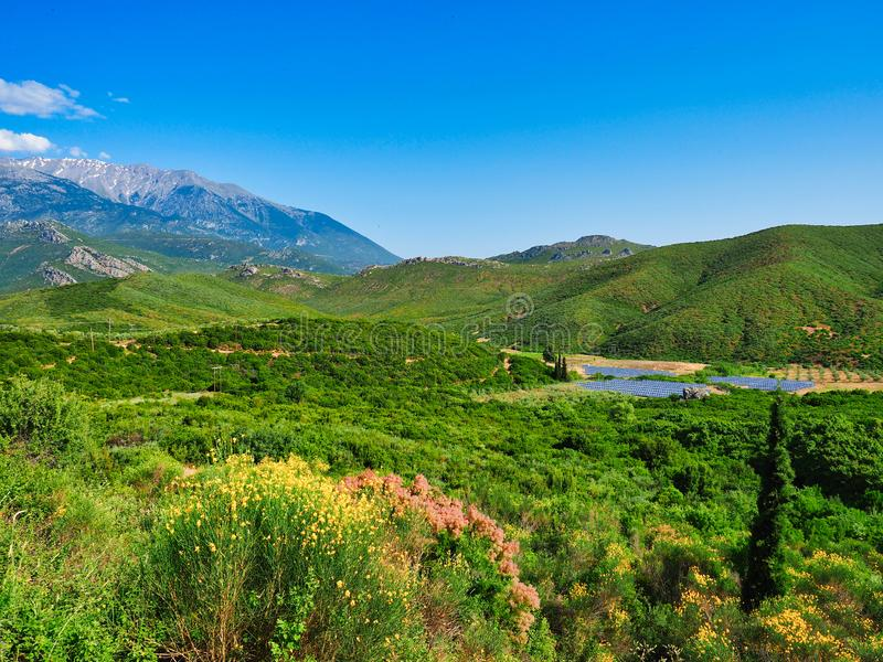 Central Greece Landscape With View to Mount Parnassus, Greece. A green early summer central Greece landscape with distant view to Mount Parnassus with remains of stock photo