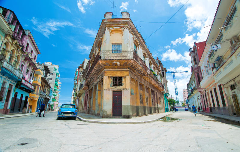 Central havana Street. Detail of central Havana street and typical architecture stock photography