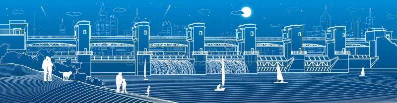 Central hidroeléctrica  Presa del río Estación de la energía Poder de agua La playa Illustrati industrial de la infraestructura d stock de ilustración