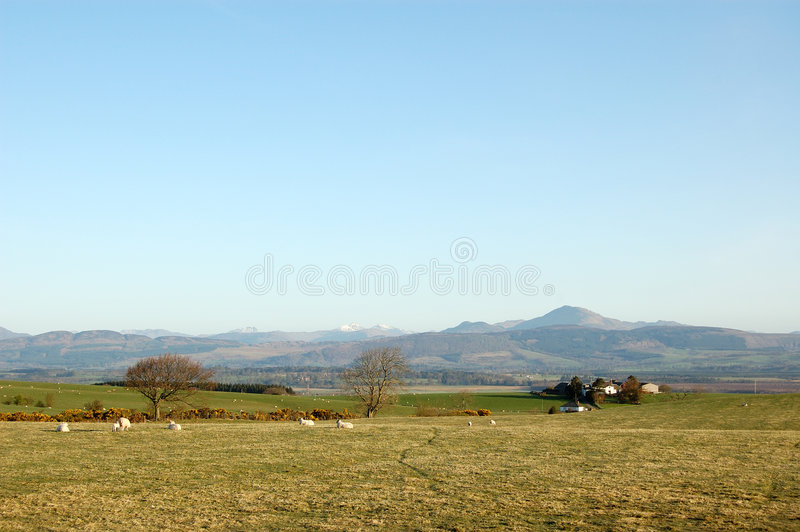 Central highlands panorama. Central Highlands of Scotland from Kippen royalty free stock photography