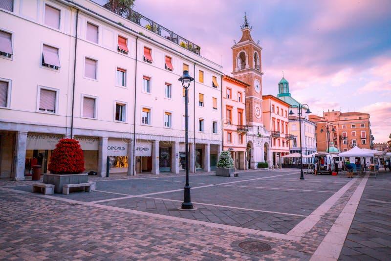 Central historisk fyrkant av Rimini arkivbild