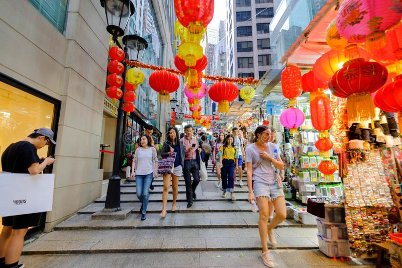 Central district Street, Hong Kong nahae backpacks shopping goods and tourists. stock photos