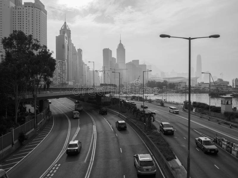 A monochromatic image of the Hong Kong skyline, viewed from Island Eastern Corridor royalty free stock photography