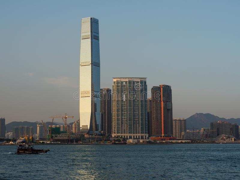 A view of the Kowloon skyline from Victoria Harbor. Many ferries depart from Victoria. Central, Hong Kong - November 1, 2017: A view of the Kowloon skyline from stock image