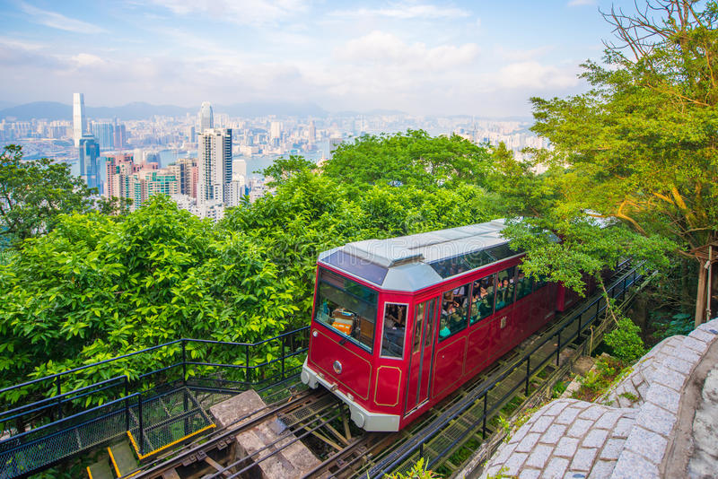 Central, Hong Kong - September 21, 2016 : The Peak tram, red tram to the peak Tower stock image
