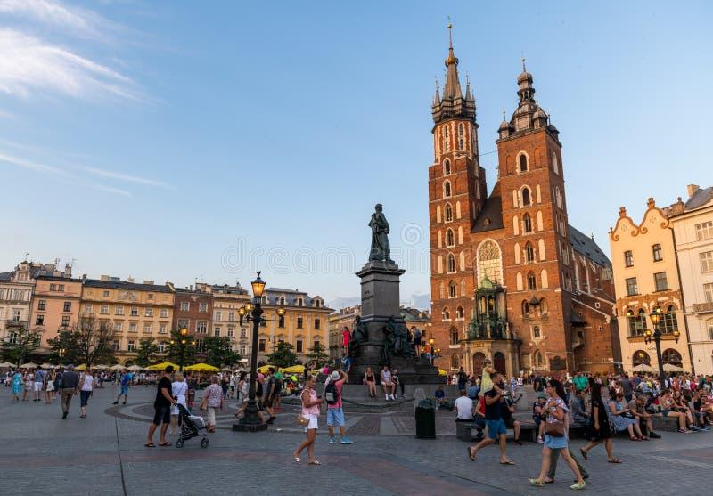 Central Krakow. Krakow. Image of Market square Krakow, Poland during sunrise royalty free stock photography
