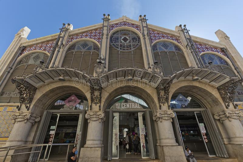 The Central Market of the city of Valencia. Valencia, Spain. October 25, 2017: The Central Market of the city of Valencia is a construction of Valencian stock photography