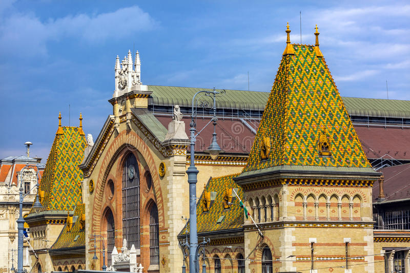 Central Market Hall Budapest Hungary. Designed by Gustav Eiffel in the late 1800s. Old Hungarian market. All types of food, handicrafts and other products are stock photo