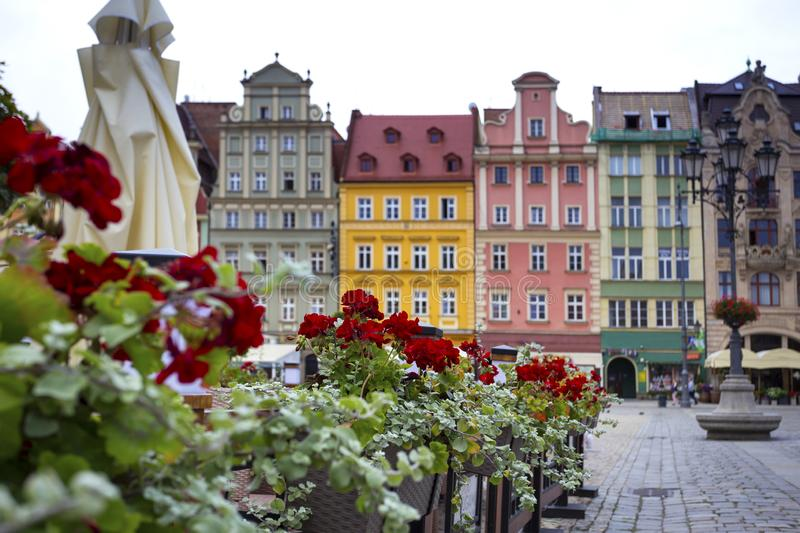Central market square in Wroclaw, Poland. Bright colorful houses central market square in Wroclaw, Poland stock photo
