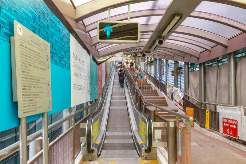 Central-Mid-Levels escalator in Hong Kong royalty free stock photos