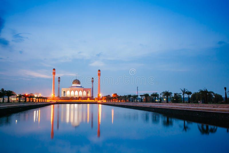 Central Mosque in Songkla, Thailand. At night royalty free stock images
