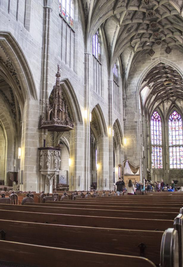 Central nave of the Berne Cathedral. Interior of the Berne Cathedral. Gothic cathedral stock photos