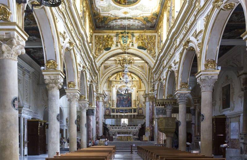 Central nave of Matera Duomo Cathedral stock photos