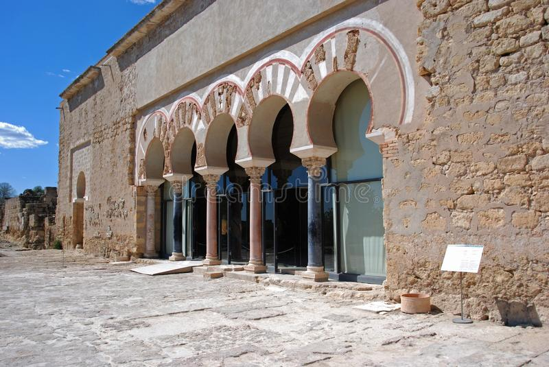Central Nave, Medina Azahara. Entrance to the Hall of Abd al-Rahman III, central nave, Medina Azahara (Madinat al-Zahra), Near Cordoba, Cordoba Province royalty free stock photo
