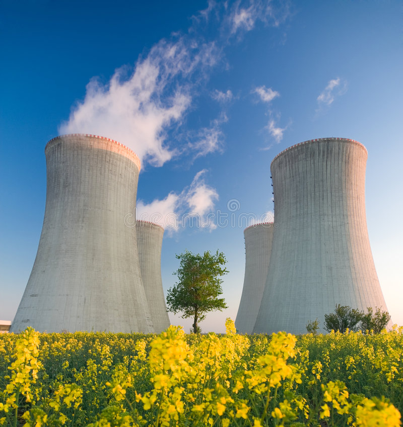 Central nuclear foto de archivo
