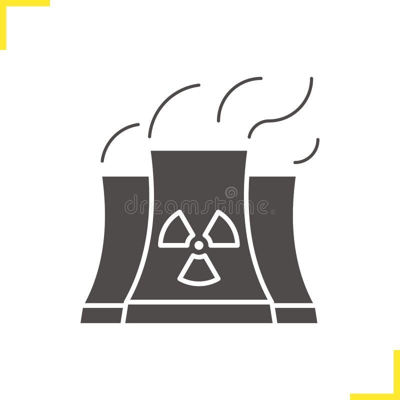 Central nuclear com ícone da nuvem de fumo ilustração do vetor