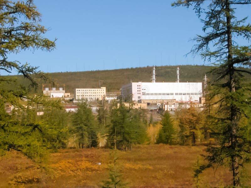 Central nuclear de Bilibino, central elétrica perto da cidade de Bilibino em Chukotka fotografia de stock royalty free