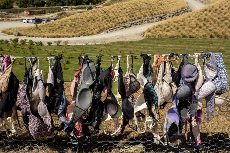 New Zealand. New Zealand breast cancer foundation. Central Otago,New Zealand - February 14,2020 : Cardrona Bra Fence gradually became a well known site as the royalty free stock photography