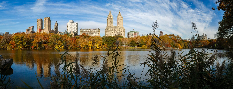 Central Park湖全景秋天的 免版税图库摄影