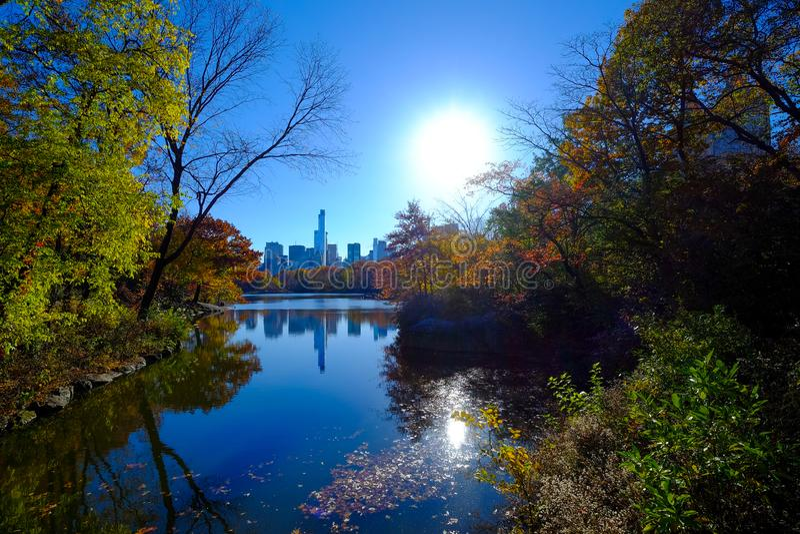 Central Park, άποψη πόλεων της Νέας Υόρκης στο ηλιοβασίλεμα στοκ εικόνα