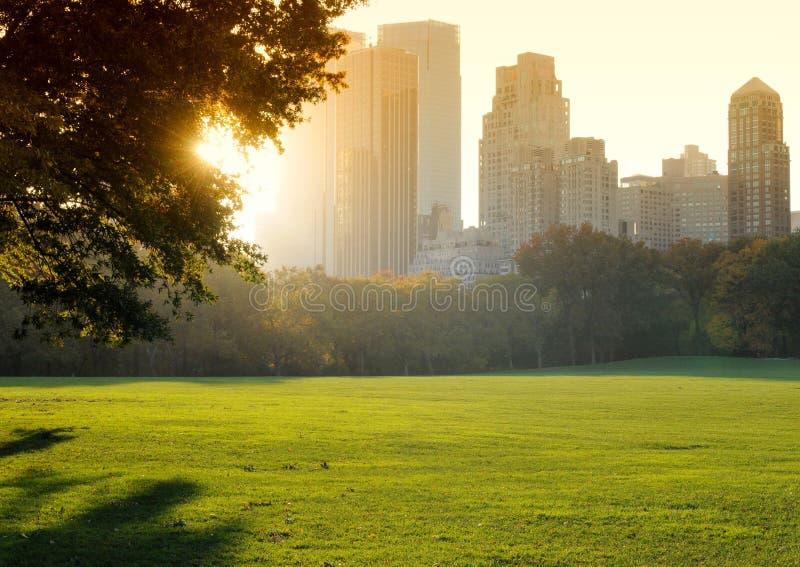 Central Park на заходе солнца, Нью-Йорк, США стоковые изображения rf