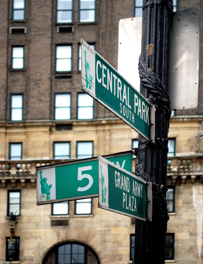 Central park. South Traffic Sign in New York royalty free stock photos