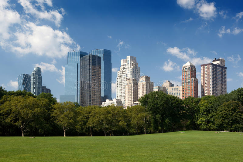 Central Park. Midtown buildings from Central Park stock images
