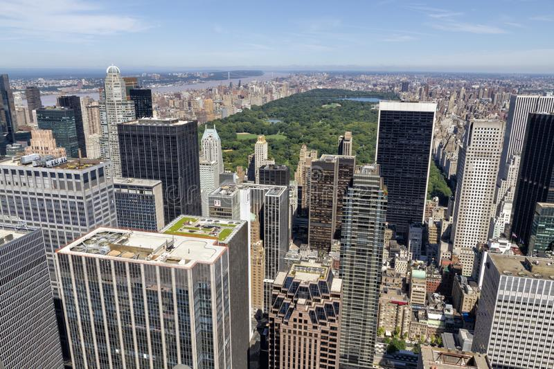 Central Park aerial view, Manhattan, New York. Park is surrounded by skyscraper royalty free stock photos