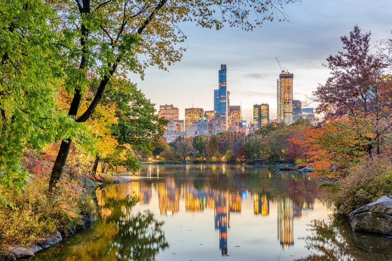Central Park during autumn in New York City. At twilight royalty free stock photos