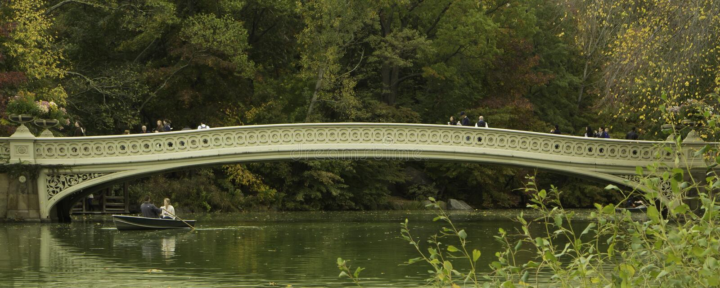 Central Park Bow Bridge Panorama royalty free stock photo
