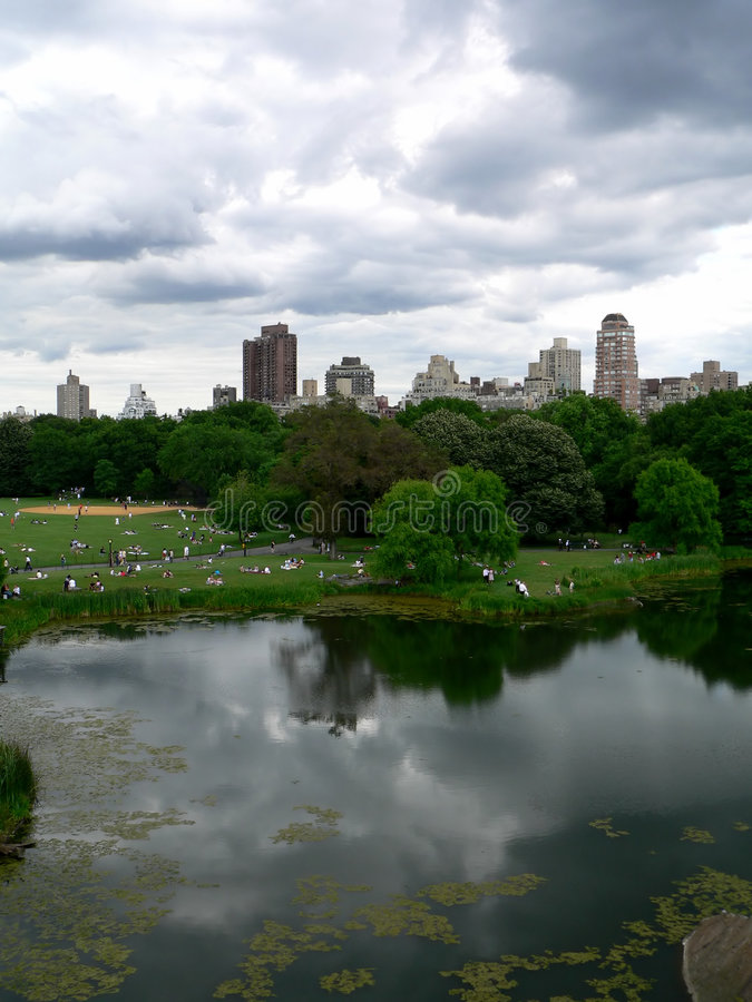 Download Central Park On A Bright But Cloudy Day Stock Photo - Image of manhattan, central: 207096
