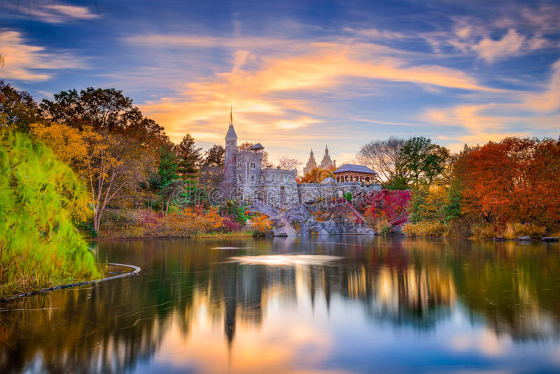 Central Park Castle. Central Park, New York City at Belvedere Castle during an autumn sunset royalty free stock image