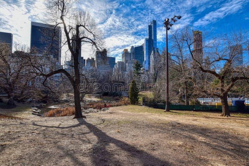 Central Park di New York City nell'inverno vicino all'anello dei pattinatori su ghiaccio immagini stock