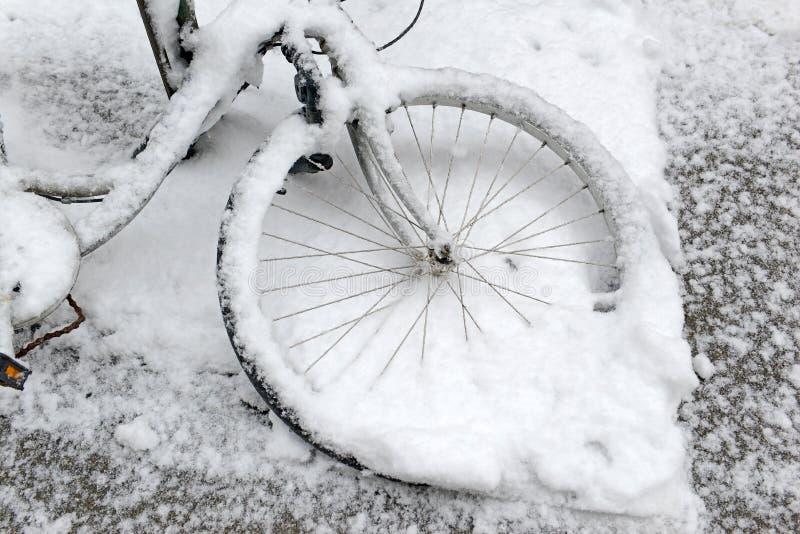 Central Park durante o meio da tempestade de neve com a neve que cai em New York City imagem de stock royalty free