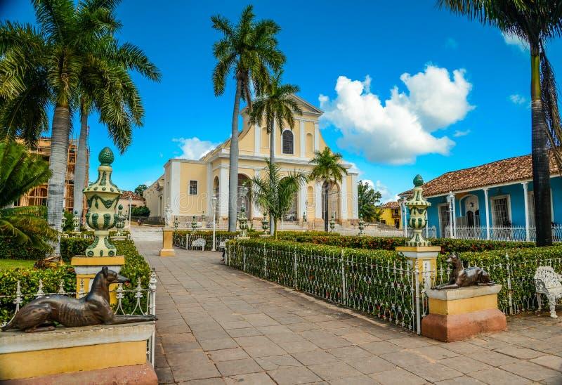 Central Park em Trinidad, Cuba imagens de stock