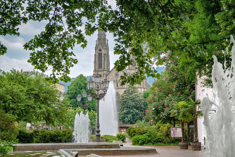 Central park and a fountain. Europe, Germany, Baden-Baden royalty free stock image