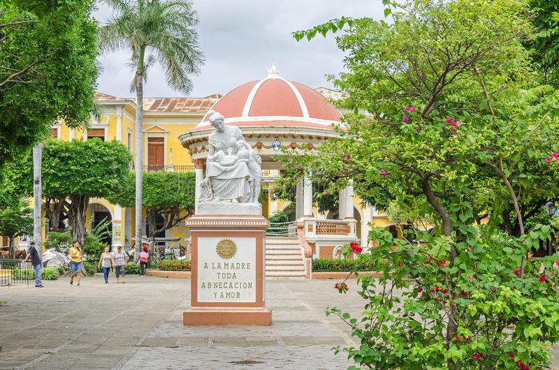 Central Park in Granada, Nicaragua. Granada, Nicaragua - 25 October, 2017: Central Park in Granada, historically one of Nicaragua`s most important cities. View royalty free stock photography