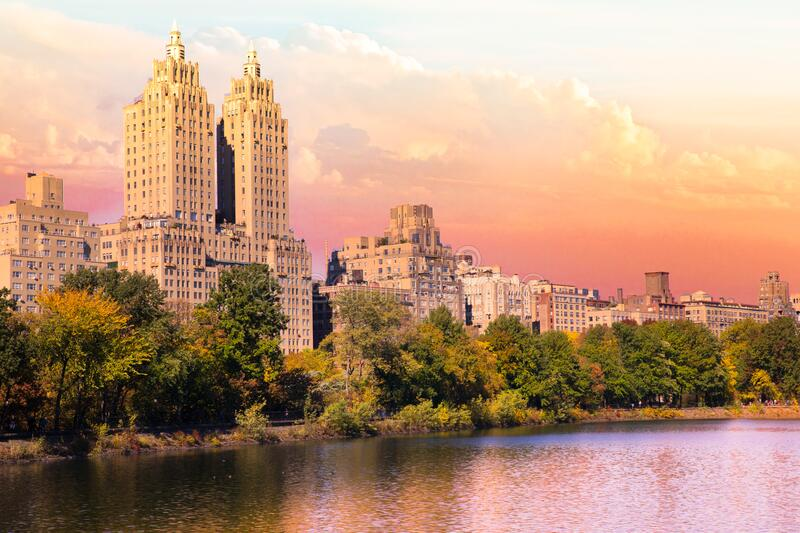 Central Park with historic architecture and reservoir visible royalty free stock images