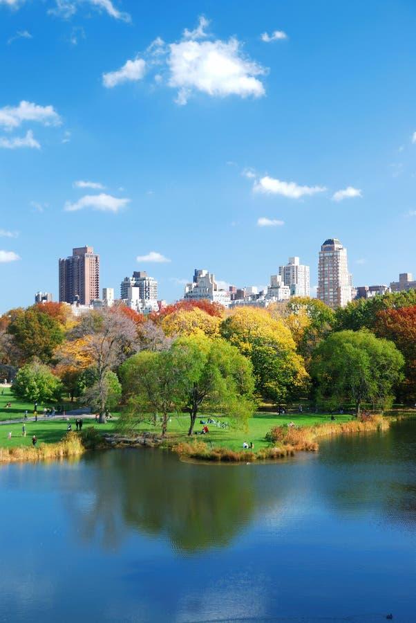 Central Park lake Autumn stock image