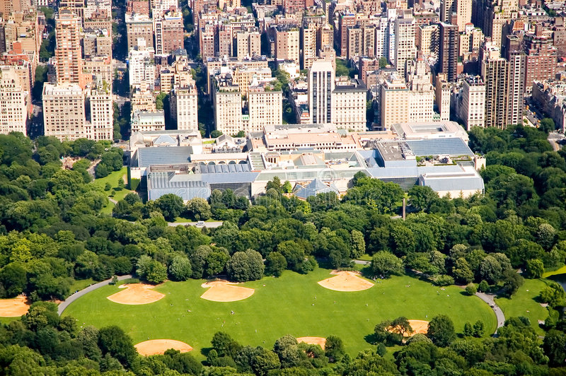 Central Park and Met Gallery. An aerial view of a section of Central Park and the Metropolitan Gallery of Art in New York City, New York stock photo