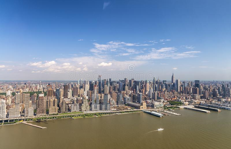 Central Park and Midtown Manhattan aerial view on a sunny day. New York City stock image