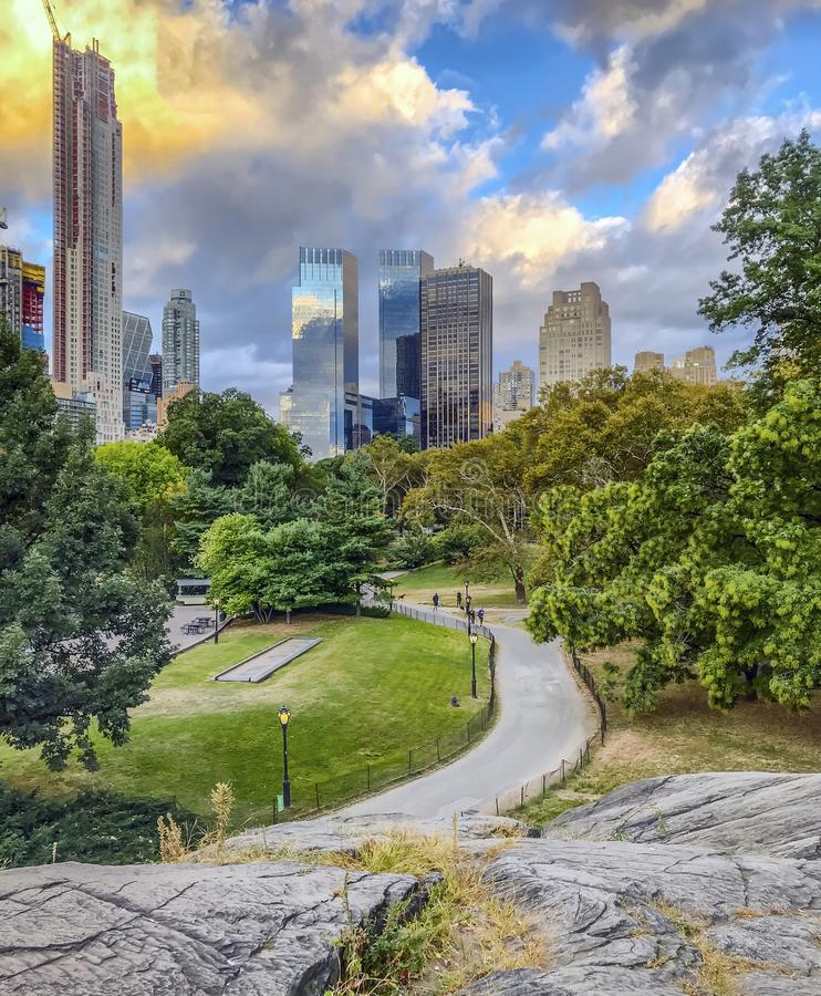 Central Park, New York City. In lake summer in the early morning royalty free stock photo