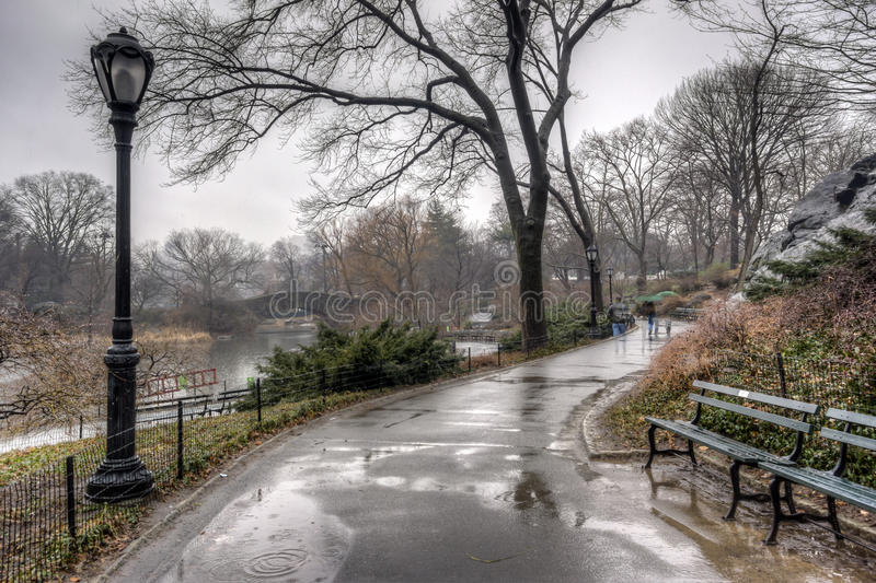 Central Park, New York City after rain storm stock images