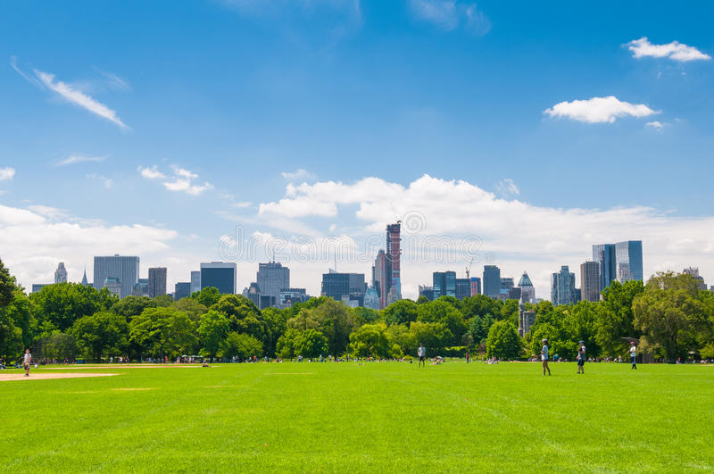 Central park. New York skyline from central park stock photo