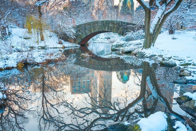 Central Park New York USA i vintern som täckas med snö Gapstow royaltyfria foton