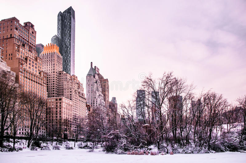 Central Park, New York in winter. Time stock image