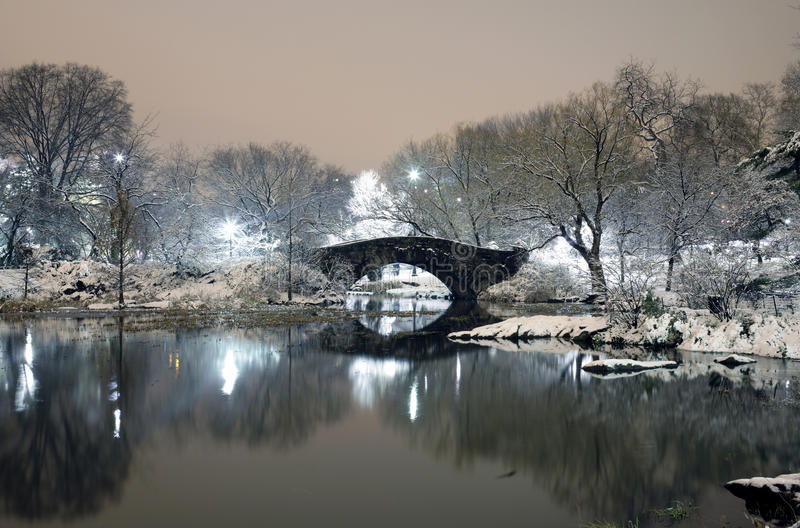Central Park at night NYC stock photo