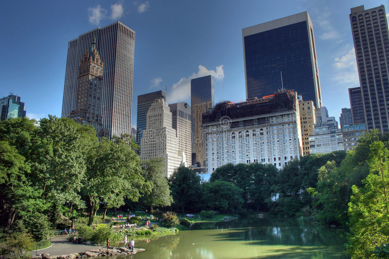 The Central Park in NYC. The sunny picture of the Central Park in NYC royalty free stock photography