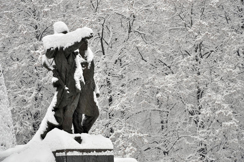 Central park ostrava in winter royalty free stock photos