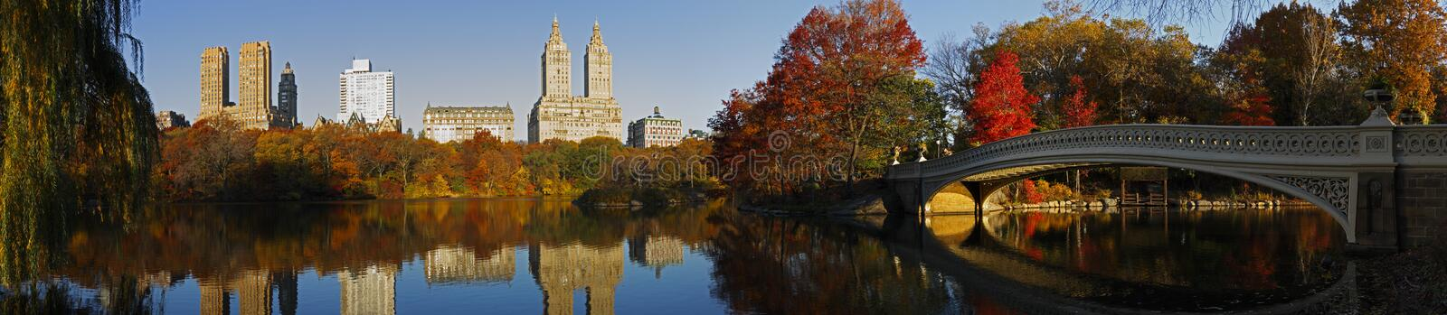 Central Park panorama with Bow Bridge stock photography